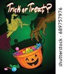 trick or treat poster  vector... | Shutterstock .eps vector #689757976