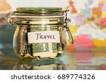 travel money savings in a glass ... | Shutterstock . vector #689774326