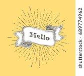 hello. hello icon in vintage... | Shutterstock . vector #689774962