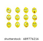 set of cute and funny lemon... | Shutterstock .eps vector #689776216