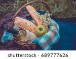 Picnic Basket With White Wine ...