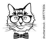 portrait of a cat with bow tie... | Shutterstock .eps vector #689779306