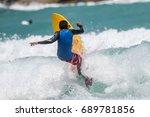 july 29  unidentified surfer in ...   Shutterstock . vector #689781856