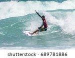 july 29  unidentified surfer in ...   Shutterstock . vector #689781886