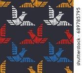 tribal indian american seamless ... | Shutterstock .eps vector #689785795