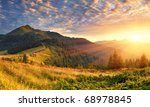 Stock photo summer landscape in the mountains sunrise 68978845