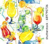 alcohol cocktails seamless... | Shutterstock . vector #689790736