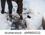 The Man Throws The Shovel Snow...
