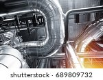 equipment  cables and piping as ... | Shutterstock . vector #689809732