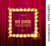 cinema golden square frame with ... | Shutterstock .eps vector #689814892