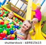 portrait of small smiling girl... | Shutterstock . vector #689815615