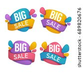 big sale  vector collection of... | Shutterstock .eps vector #689820676