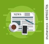 flat vector. news concept.... | Shutterstock .eps vector #689832706