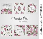 vector set with flower design.... | Shutterstock .eps vector #689834365