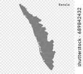 high quality map of kerala is a ... | Shutterstock .eps vector #689842432