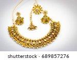 indian ethnic  jewellery set... | Shutterstock . vector #689857276