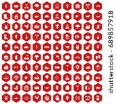 100 farm icons set in red... | Shutterstock .eps vector #689857918