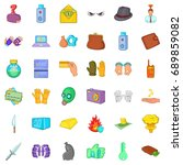 arrest icons set. cartoon style ... | Shutterstock .eps vector #689859082