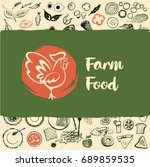 farm food logo with rooster.... | Shutterstock . vector #689859535