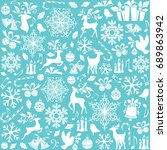christmas pattern from holiday... | Shutterstock .eps vector #689863942