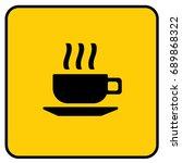 cafe sign yellow. vector. | Shutterstock .eps vector #689868322