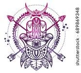 indian hand hamsa. hand of...   Shutterstock .eps vector #689869348