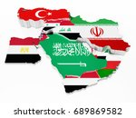 middle east countries covered... | Shutterstock . vector #689869582