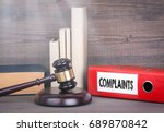 complaints. wooden gavel and... | Shutterstock . vector #689870842
