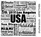 usa cities names word cloud... | Shutterstock .eps vector #689875486