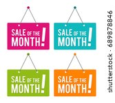sale of the month hanging door... | Shutterstock .eps vector #689878846