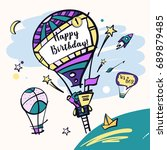 template baby happy birthday... | Shutterstock . vector #689879485