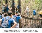gifted school kids on a field... | Shutterstock . vector #689881456