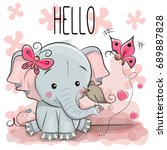 greeting card cute cartoon... | Shutterstock .eps vector #689887828