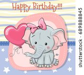 Stock vector greeting card cute cartoon elephant with balloon 689888845
