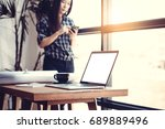 technology in workplace concept.... | Shutterstock . vector #689889496
