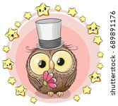 greeting card cute cartoon owl... | Shutterstock .eps vector #689891176
