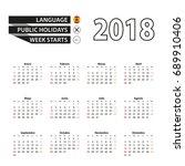 2018 calendar in spanish... | Shutterstock .eps vector #689910406