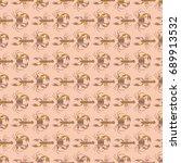 seamless pattern witn marine... | Shutterstock . vector #689913532