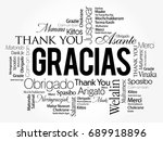 gracias  thank you in spanish ... | Shutterstock .eps vector #689918896