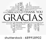 gracias  thank you in spanish ... | Shutterstock .eps vector #689918902