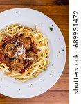 spaghetti bolognese  flat lay... | Shutterstock . vector #689931472