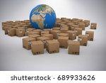 3d image of globe amidst... | Shutterstock . vector #689933626