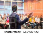 speaker at business conference... | Shutterstock . vector #689939722