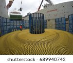 submarine cable loading to... | Shutterstock . vector #689940742