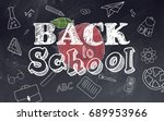 school stationary and apple... | Shutterstock . vector #689953966