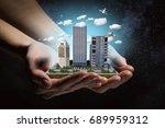 new development project. mixed... | Shutterstock . vector #689959312