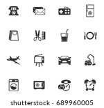 hotel room service vector icons ... | Shutterstock .eps vector #689960005