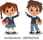 two school children  vector... | Shutterstock .eps vector #689962318