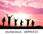 six children jumping for joy...
