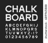 chalk board alphabet font.... | Shutterstock .eps vector #689965888